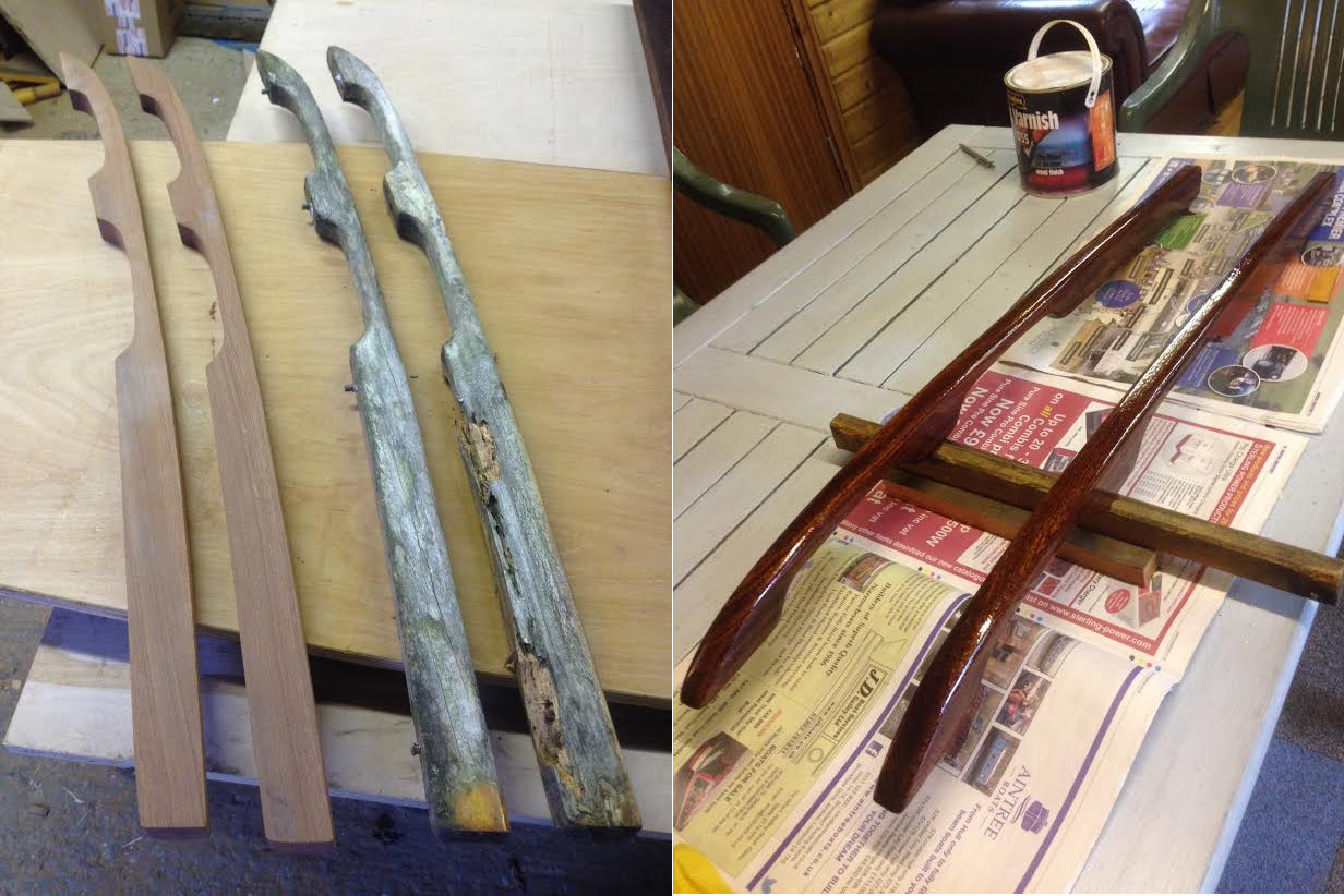 Roof Rails copied from old rotten ones for a sailing dingy